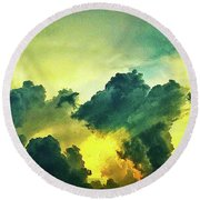 Sunset After The Storm Round Beach Towel