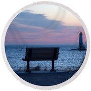 Sunset And Bench Round Beach Towel
