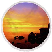 Sunset And Fire Round Beach Towel
