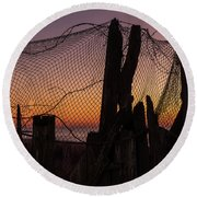 Sunset And Fishing Net Cape May New Jersey Round Beach Towel