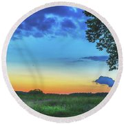 Sunset And Flowers Round Beach Towel