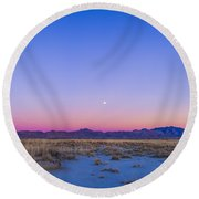 Sunset And Gibbous Moon Round Beach Towel