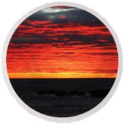 Sunset And Jetty Round Beach Towel by William Selander