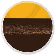 Sunset And Lake Michigan Round Beach Towel