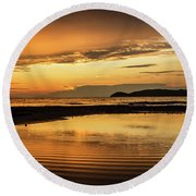 Sunset And Reflection Round Beach Towel