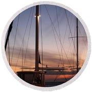 Sunset And Sailboat Round Beach Towel