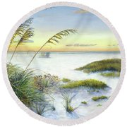 Sunset And Sea Oats At Siesta Key Public Beach -wide Round Beach Towel