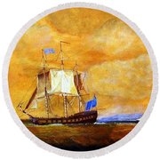 Sunset And Ships Round Beach Towel