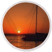 Sunset And Silhouette Round Beach Towel