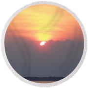 Sunset And The Storm Round Beach Towel