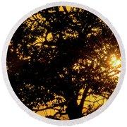 Sunset And Trees - San Salvador I Round Beach Towel
