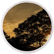 Sunset And Trees - San Salvador Round Beach Towel