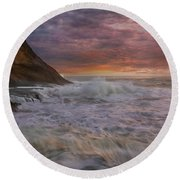 Sunset And Waves At Cape Kiwanda Round Beach Towel