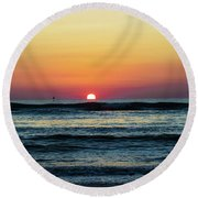 Sunset And Waves Round Beach Towel
