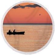 Sunset Anglers Round Beach Towel