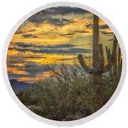 Sunset Approaches - Arizona Sonoran Desert Round Beach Towel