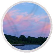 Sunset Aquidneck Island Round Beach Towel