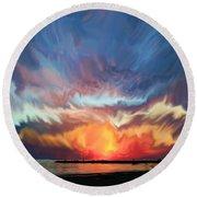 Sunset Art Landscape Round Beach Towel
