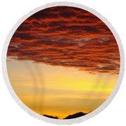 Sunset Art Prints Canvas Orange Clouds Twilight Sky Baslee Troutman Round Beach Towel