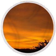 Sunset Art Prints Orange Glowing Western Sunset Baslee Troutman Round Beach Towel