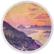 Sunset At Ambleteuse Pas-de-calais Round Beach Towel by Theo van Rysselberghe