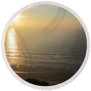 Sunset At Blacks Beach Round Beach Towel