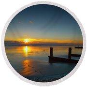 Sunset At Brackesham Bay ,west Sussex ,england  Round Beach Towel