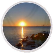 Sunset At Cape May Beach Round Beach Towel
