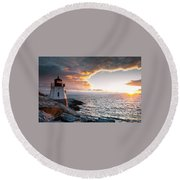 Sunset At Castle Hill Round Beach Towel