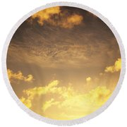 Sunset At Chinamans Hat Round Beach Towel