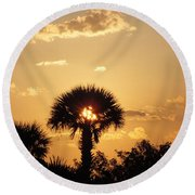 Sunset At Clearwater Beach Round Beach Towel