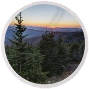 Sunset At Clingmans Dome Round Beach Towel