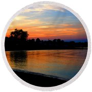 Sunset At Colonial Beach Cove Round Beach Towel
