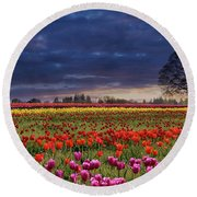 Sunset At Colorful Tulip Field Round Beach Towel