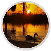 Sunset At Copper Canyon Ranch Round Beach Towel