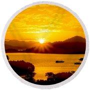 Sunset At Coron Bay Round Beach Towel
