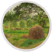 Sunset At Eragny Round Beach Towel by Camille Pissarro