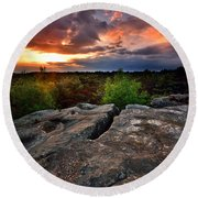 Sunset At Fontainebleau Round Beach Towel