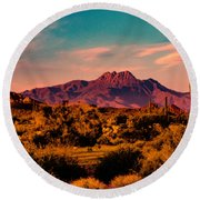 Sunset At Four Peaks Round Beach Towel