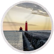 Sunset At Grand Haven Round Beach Towel