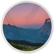 Sunset High Above Grindelwald Round Beach Towel