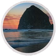 Sunset At Haystack Rock Round Beach Towel