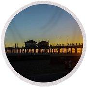 Sunset At Huntington Beach Round Beach Towel