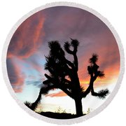 Sunset At Joshua Tree 2 Round Beach Towel