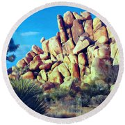 Sunset At Joshua Tree Round Beach Towel