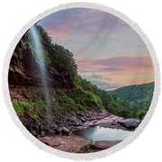 Sunset At Kaaterskill Round Beach Towel