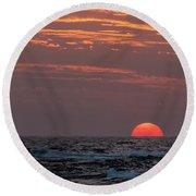 Sunset At Kekaha Beach, Hawaii Round Beach Towel by Mary Lee Dereske