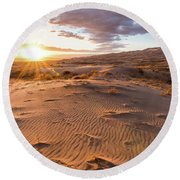 Sunset At Kelso Dunes Round Beach Towel
