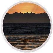 Sunset At Kenai Beach Round Beach Towel