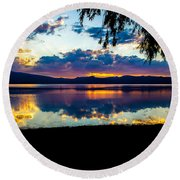Agency Lake Sunset, Oregon Round Beach Towel